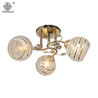 Classical Ceiling Lamp For Bedroom Gold Leaves Crystal Light For Living Room Home Lighting Luminaire Vintage