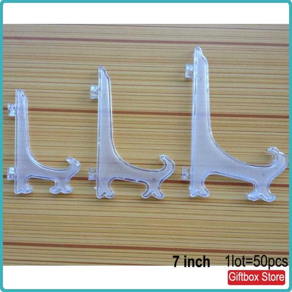 (50 पीसी / लॉट) 7 इंच स्पष्ट प्लास्टिक डिस्प्ले रैक सजावटी प्लेट चित्रफलक स्टैंड होल्डर्स