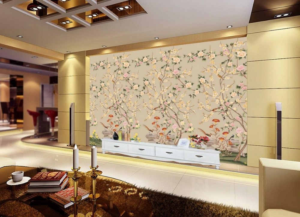 living 3d wallpaper Hand painted flowers and birds floral background wall custom photo murals wall 3d wallpaper