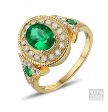 CaiMao 1.06 ct Natural Emerald 18KT/750 Yellow Gold 0.4 ct Full Cut Diamond Engagement Ring Jewelry Gemstone colombian