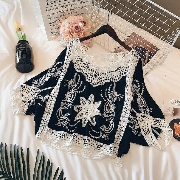2018 vente Blusas Femininas Blouse chemise femmes coton dentelle mode été manches chauve-souris élégant dames hauts femmes vêtements