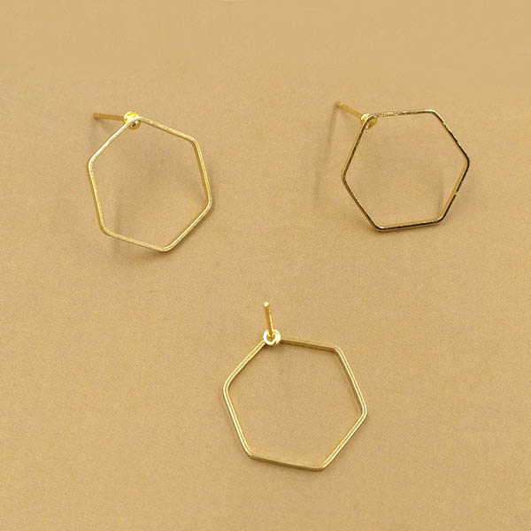 Geometric Designs Wire Earring Post Stud Pins Findings Settings Blank Diy Making Golden Tone Plated Metal Br In Jewelry Components From