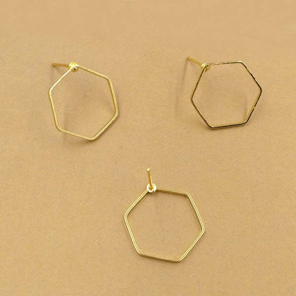 Us 9 73 25 Off Geometric Designs Wire Earring Post Stud Pins Findings Settings Blank Diy Making Golden Tone Plated Metal Br In Jewelry