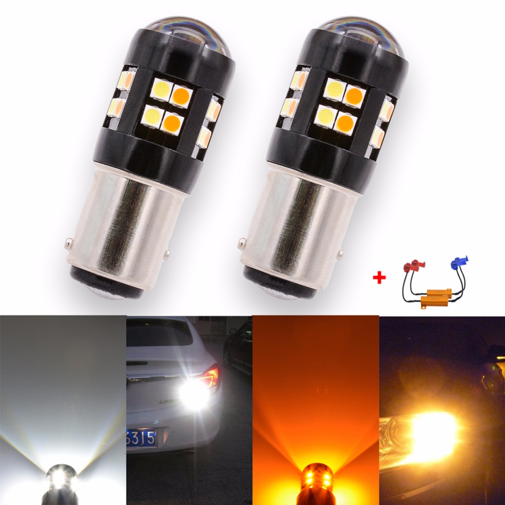 Katur 2x Canbus Error Free BAY15D 1157 Switchback LED Dual Color Bulb Turn Signal Light Yellow White S25 P21/5W Led For Audi BMW 2pcs 12v 31mm 36mm 39mm 41mm canbus led auto festoon light error free interior doom lamp car styling for volvo bmw audi benz