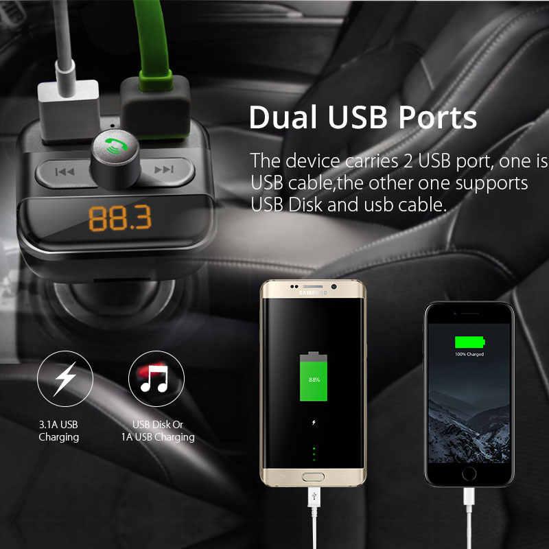VANJEW BT20 передатчик Bluetooth FM радио адаптер модулятор Автомобильный комплект 2 Порты usb Зарядное устройство аудио MP3 плеер передатчик Handsfree