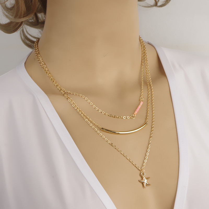 Simple Design gold color chain necklace for women three layers Bar ...