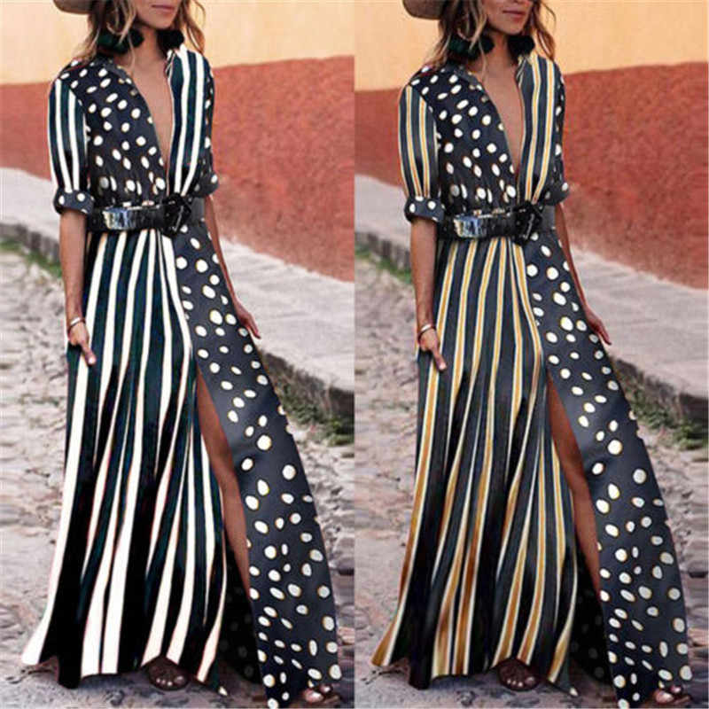 Fashion Women Polka Dot V-neck Dress Asymmertrical Short Sleeve Beach Long Maxi Slit Shirtdresses With Belt Travelling Clothing
