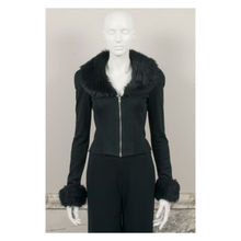 arlene sain custom black real  fur Biba rock chick flare jacket