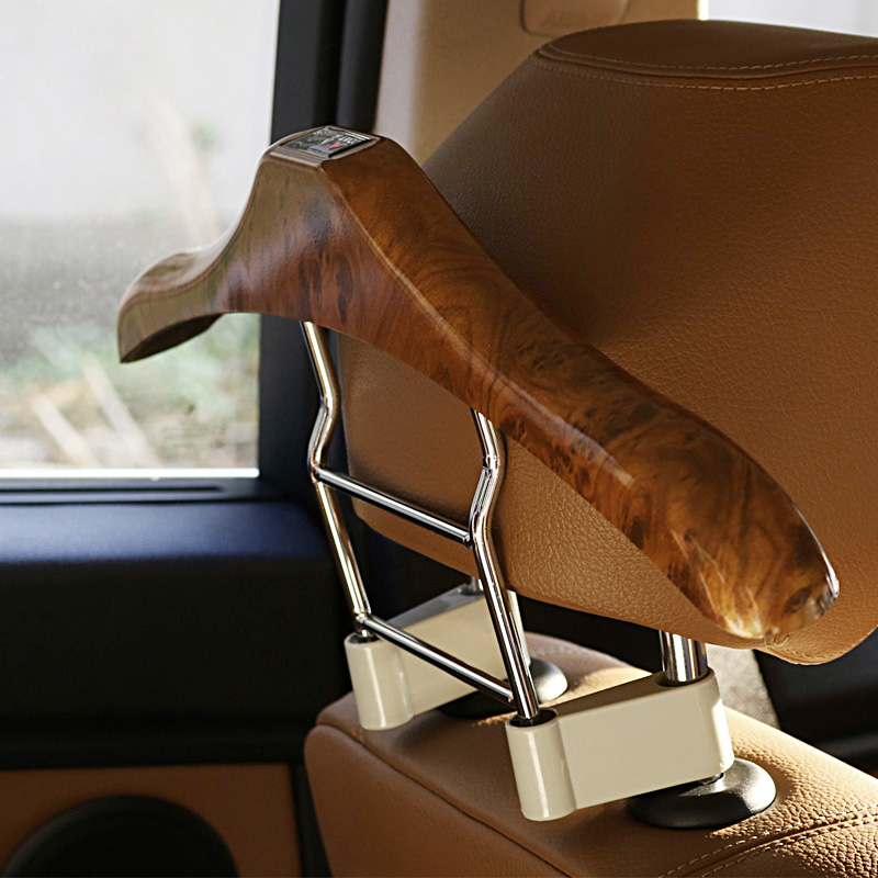 46x21cm Peachwood + Stainless Steel + ABS Seat Headrest Pillar Coat Hanger Frame Car Styling Functional Storage Rack Accessory