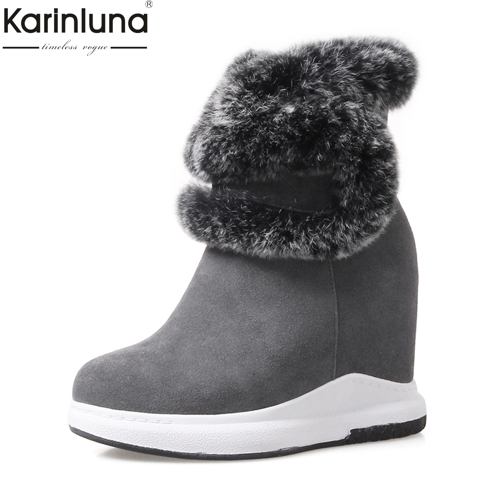 2018 wholesale cow suede leather warm plush winter boots woman shoes high heels ankle boots female shoes woman snow boots 2018 genuine leather snow boots platform woman autumn winter female warm snow boots shoes wedge ankle boots shoes woman suede