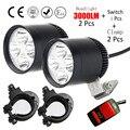 2pcs motorcycle headlight sportster lights CE cafe racer moto spotlights car fog work lights DRL 30W 4*U2 12v Cree led chip 2107
