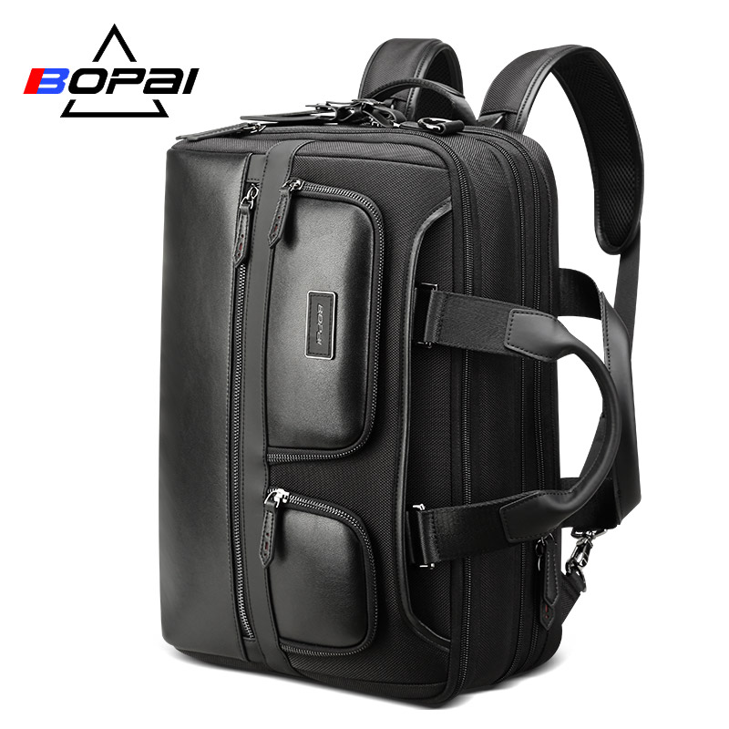 BOPAI Travel Backpack Men Multifunction Enlarge Large Capacity Anti theft Laptop Backpack 15 6 inch Leather