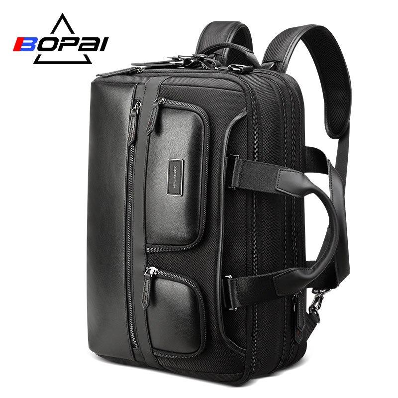 BOPAI рюкзак для путешествий, с зарядкой через usb, большой емкости, с защитой от кражи, рюкзак для ноутбука, 15,6 дюймов, кожаный рюкзак