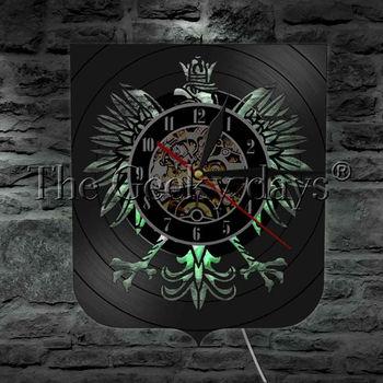 Цельнокроеное польское пальто с короной Белого Орла, светодиодное освещение, настенные часы, изменение цвета, настенный светильник с пульт...