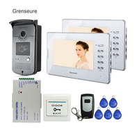 FREE SHIPPING New Wired 7 Inch Color HD Video Door Phone Doorbell Intercom System 1 RFID