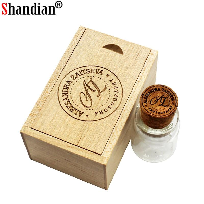 Wooden Cork Glass Wishing Bottle USB 2.0 Flash Drive Wedding Gift USB 3.0 16GB