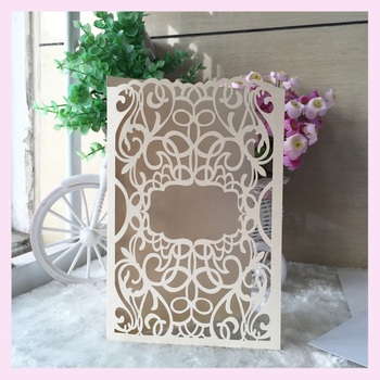 50pcs Rustic laser cut Wedding Party dinner Invitation cover Card wedding wishing well card bridal shower greeting card