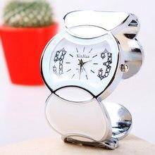 Manera y Ocasional de Pulsera de Flores Relojes XinHua Marca Mujeres Reloj de Cuarzo redonda Grande Dial Diamante Reloj de Regalo de Acero Inoxidable