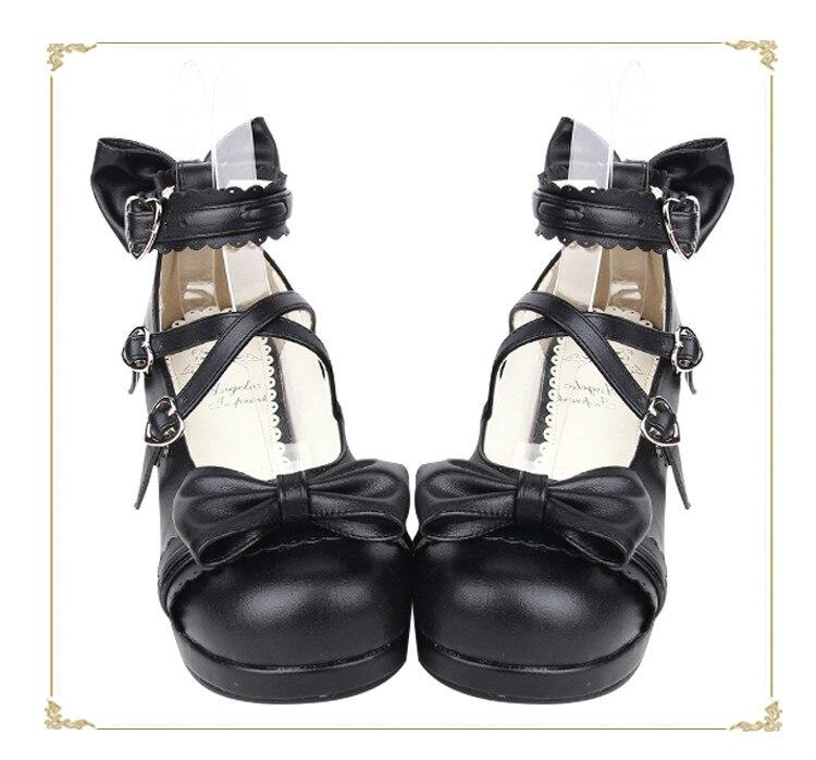 Avec Japonais orange Tête Talons Dentelle Pu8018 Douce Noir Arc Princesse Lolita Ronde À Hauts Style Nouveau Et Chaussures nwWpxHT8Aq