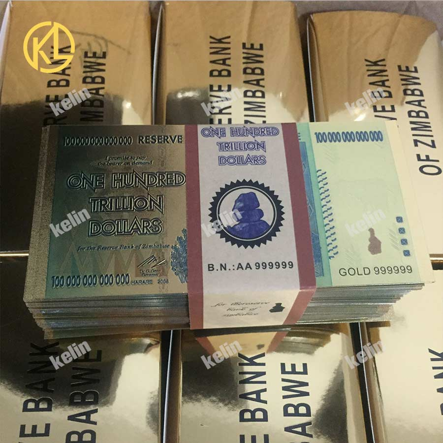 wholesale 1000 pcs 10000 pcs Zimbabwe One Hundred Trillion Dollars Gold Banknote in 24k Gold Plated