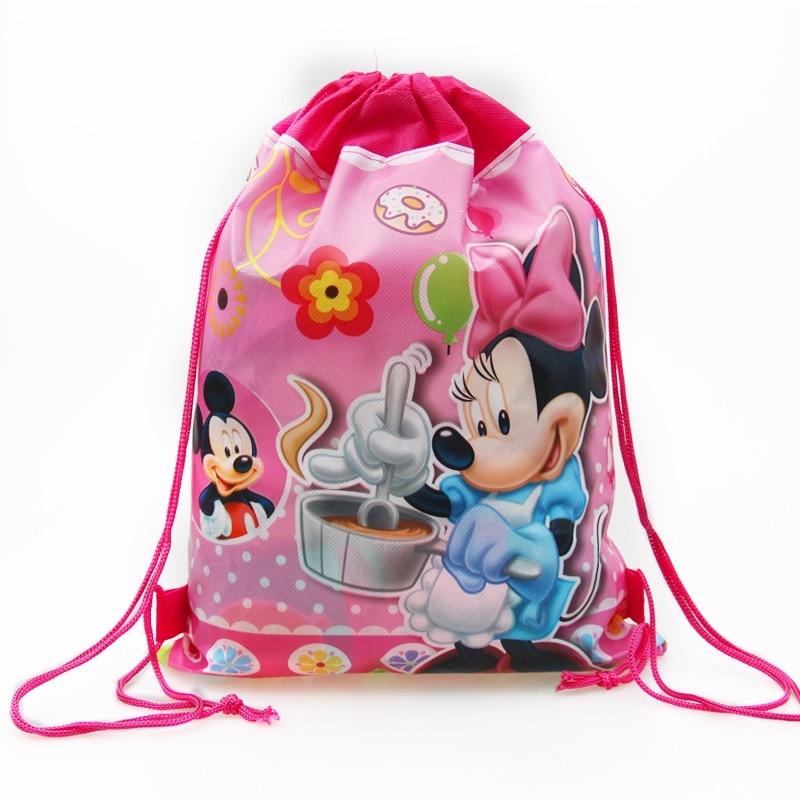 1pc Non-woven Fabrics Cartoon Theme Drawstring Gift Bags Kids Girls Boys Backpack Shoes Clothes Storage Handbags