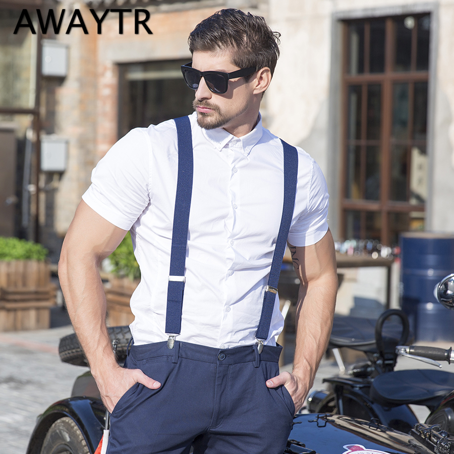 2018 New Fashion AWATRY Suspenders Men 4 Clips High Elasticity Braces Adjustable Coffee Color Tirantes Pants Support Straps