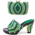 Нигерии Стиль Женская Обувь И Соответствия Обуви Установить Высокое Качество африканские Высокие Каблуки Обувь И Сумки, Установленные Для Свадьбы Платье зеленый