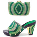 Estilo de Zapatos de Mujer Y Zapatos A Juego de nigeria Set Alta Calidad zapatos de Tacón Alto Zapatos Y Bolsas Establecidas Para la Boda africana Vestido verde
