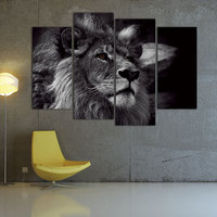 Lion Head Portrait Wall Art Painting Black And White Gray Pictures Print On Canvas 4 Panels