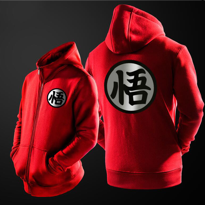 Fleece Lined Cosplay Costume Sweatshirt Dragon Ball Hoodie Goku Muten Roshi Black Red Grey