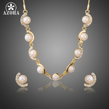 AZORA Gold Color Australian Crystal Semicircle set with Imitation Pearls Charm Necklace and Earrings Jewelry Sets TG0232