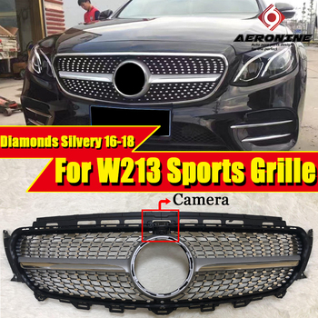 Diamonds Grille grll ABS silver With camera Fit For MercedesMB W213 E180 E200 E250 Front Bumper Kidney Grills without sign 16-18