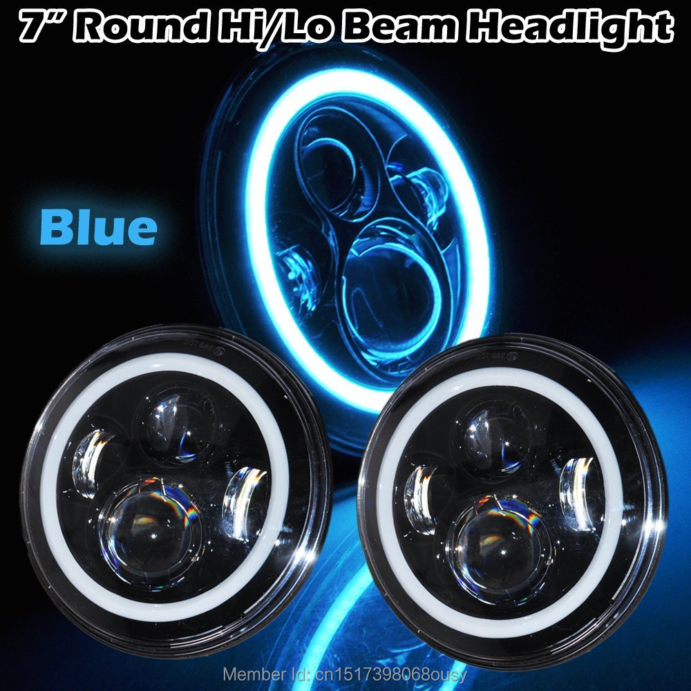7'' inch Round 45W LED Halo Blue Angel eyes Headlights H4 H13 LED Headlight for Jeeps wrangler JK Off Road 4x4 2pcs purple blue red green led demon eyes for bixenon projector lens hella5 q5 2 5inch and 3 0inch headlight angel devil demon