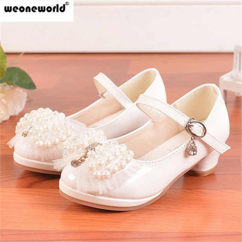Children Princess Sandals Ivory Kids Girls Wedding Shoes High Heels Dress Bowtie Pink White Party For In From Mother On
