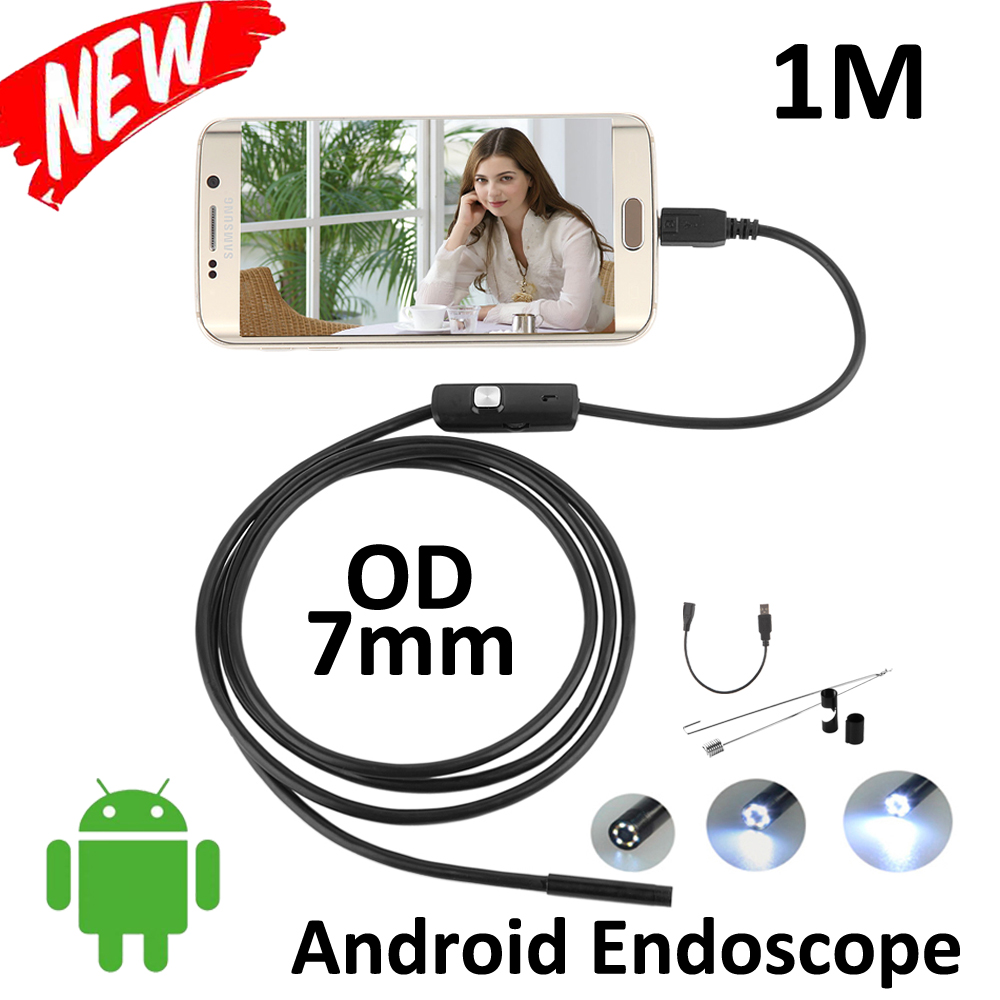 5pcs/lot 7mm len1M Android Phone OTG USB Endoscope micro USB Flexible Tube Inspection Portable Snake Pipe USB Borescope Camera micro usb endoscope camera 7mm lens 1 5m flexible snake pipe inspection android phone otg usb borescope p67 waterproof camera