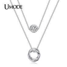 UMODE Unique Fashion Jewelry Two Layer Pendant Necklace For Women White Gold Color Genuine Austrian Rhinestone Necklace AUN0119B