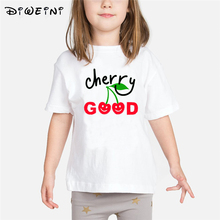 Baby Girls Print T Shirt Summer 2019 Kids Clothes Cute Cherry Strawberry Child T-shirts White Camiseta 2 to 8 Years Toddler Tops