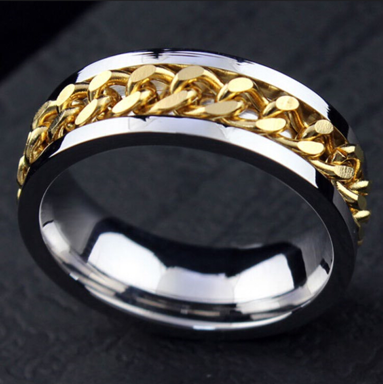 Image 2 - 30pcs High Quality Comfort fit Men's SPIN Chain Stainless steel Spinner Rings Wholesale Jewelry Job Lots-in Rings from Jewelry & Accessories