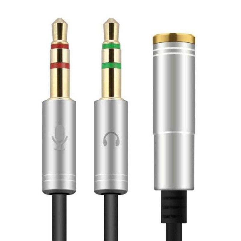 35 см 3.5 мм стерео аудио Мужской 2 Женский гарнитура Mic Y Splitter кабель адаптера A8
