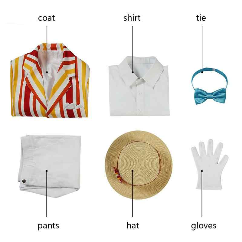 Dropshipping 1964 Film Mary Poppins Cosplay Bert Traje Adulto Roupas Jaqueta Karnaval Kıyafet Tam Set com Adereos