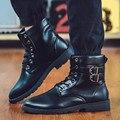 Cordones del Hola-Top Knight Botines Otoño Forme a Hombres de Imitación Botas de cuero de Trabajo Militar de Lana Hebilla Negro Clásico Masculino Hombre zapatos