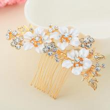 Hand-Made Rhinestone Insert Comb Flower Hairdress Gold Color Elegant Hair Crystal Clip Accessories Bride Headdress Jewelry