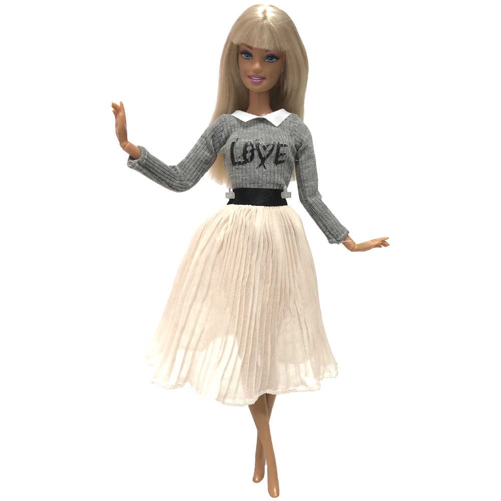 Nk 1x boneca vestido para barbie boneca acessórios mangas compridas malhas blusa camisa plissado ballet saia roupas brinquedo do bebê 004a dz