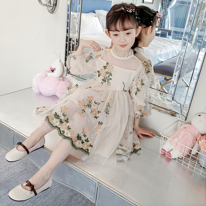 Childrens Dresses For Girls Vestido Princess Kids Clothes Cute Mesh Floral Embroidery Dress Lace Costumes Elegant Kids ClothesChildrens Dresses For Girls Vestido Princess Kids Clothes Cute Mesh Floral Embroidery Dress Lace Costumes Elegant Kids Clothes