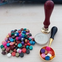 120 Pieces Sealing Wax Beads With Candle Melting Spoon And Seal Stamp Suit For Envelopes Rose