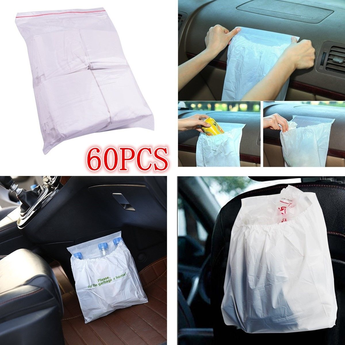 60 Pcs lot Car Garbage Bag Holder Rubbish Bag Pocket in Nets from Automobiles Motorcycles