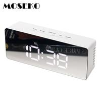 MOSEKO 알람 시계 디지털 디스플레이 휴대용 현대 거울 시계 스마트 스누즈 다기능 시간 날짜 월 온도