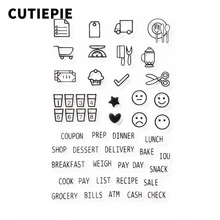 Kitchen Scene with Words Transparent Clear Stamps for Scrapbooking DIY Silicone Seal Photo Album Template Paper Maker Crafts