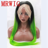 MRWIG long straight black ombre green free part synthetic glueless front wig cosplay for black woman