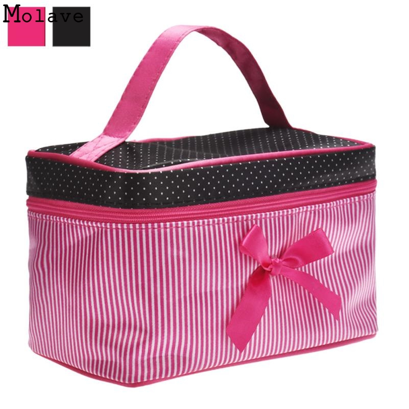 New Arrival SquareBow Stripe Portable Cosmetic Bag Travel CosmeticsBag Trousse De Maquillage Necessaire Women Toiletry Kits D30M 2015 storage bag portable cosmetic bag waterproof travel cosmetics bag trousse de maquillage necessaire women toiletry kits